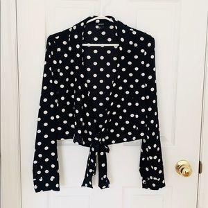 Black & White Polka Dot Wrap  Long Sleeve Top